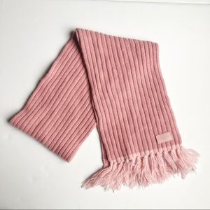 Coach Wool and Cashmere Blend Fringe Scarf Pink